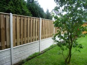 Betonzaun Motiv Holz Kombi