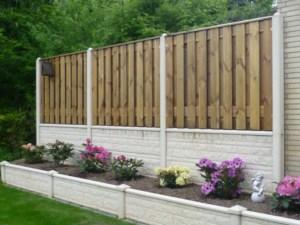 Betonzaun Motiv Holz-Kombi